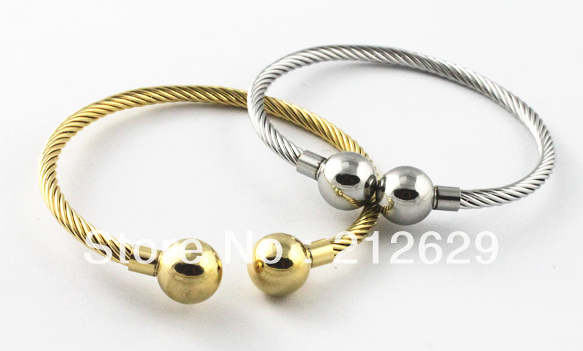 2016 New Arrival Products Stainless Steel Women Bangles Gold Plating Wire Bracelet&Bangles Fashion Bead Accessories Jewelry(China (Mainland))
