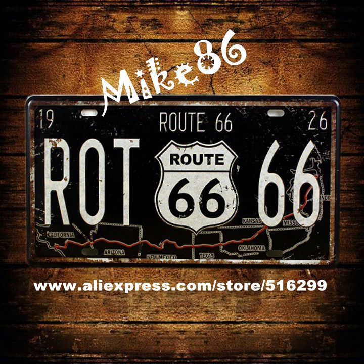 [ Mike86 ] ROT 66 Route 66 Car License Plates Antique Bar Art Wall Plaque decor Metal Painting PUB D-145 Mix order 30*15 CM(China (Mainland))