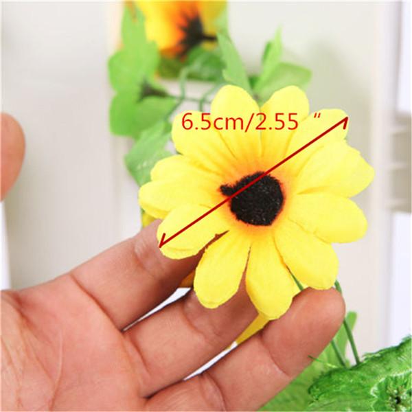 Lovely Sunflower Silk Flower Vine 240cm Long Wedding Home Garden Decor Garland With Ivy Leaf Flower
