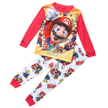 Kids Boys Cotton pajamas Super Mario Sleepwear Nightwear pijama set 1-7T