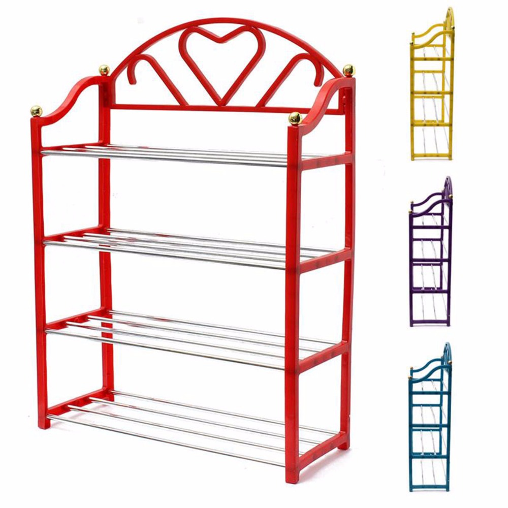 4 Tier Household Metal Shoes Organizer Rack Stand Sturdy Shelf Storage Holder(China (Mainland))