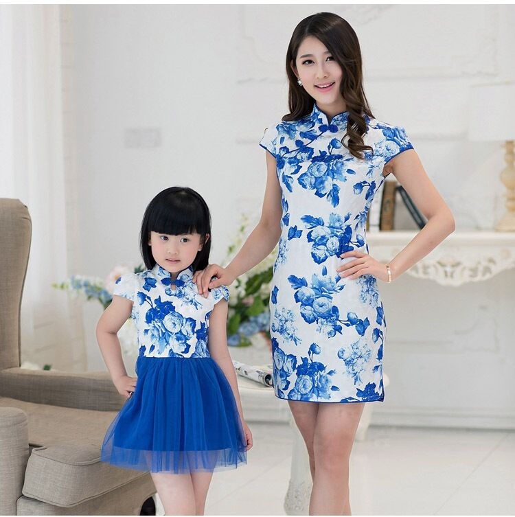 2015 Summer New In Mother &amp; Daughter Blue and White Porcelain Print Dress Family Chinese Cheong-sam<br><br>Aliexpress