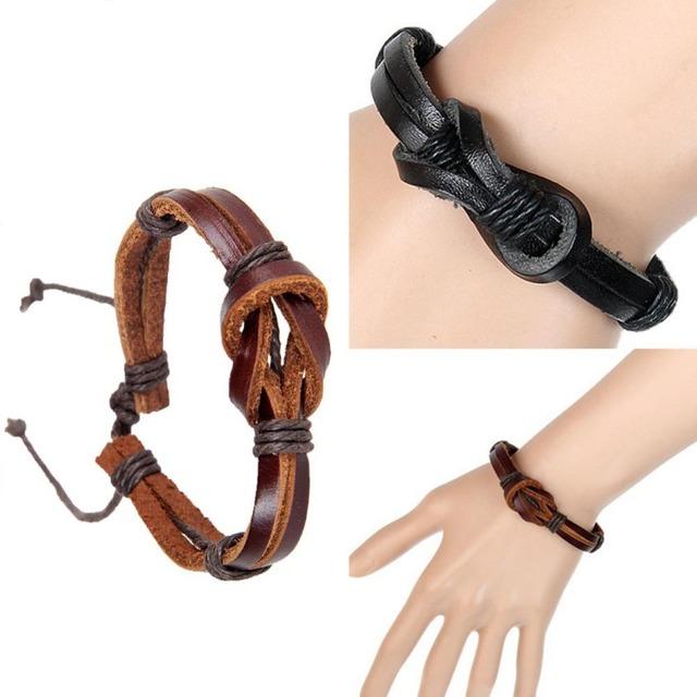 Новый ретро кожаный ремешок ручной творческий 8 тенью-образный пряжки узел кожаный ...