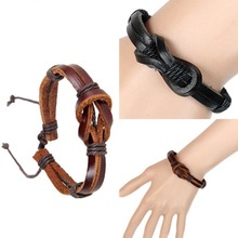 New Retro Leather Strap Hand-woven Creative 8 Shaped Buckle Knot Leather Bracelet Black BL0009(China (Mainland))
