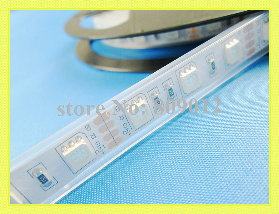 waterproof RGB LED strip light SMD 5050 LED strips DC12V SMD5050 60 led / M 5M / roll IP65 free shipping(China (Mainland))
