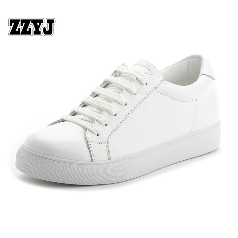 ZZYJ Genuine Leather Womens flat casual shoes Low top spring summer Female Platform shoes Korean fashion White shoes(China (Mainland))