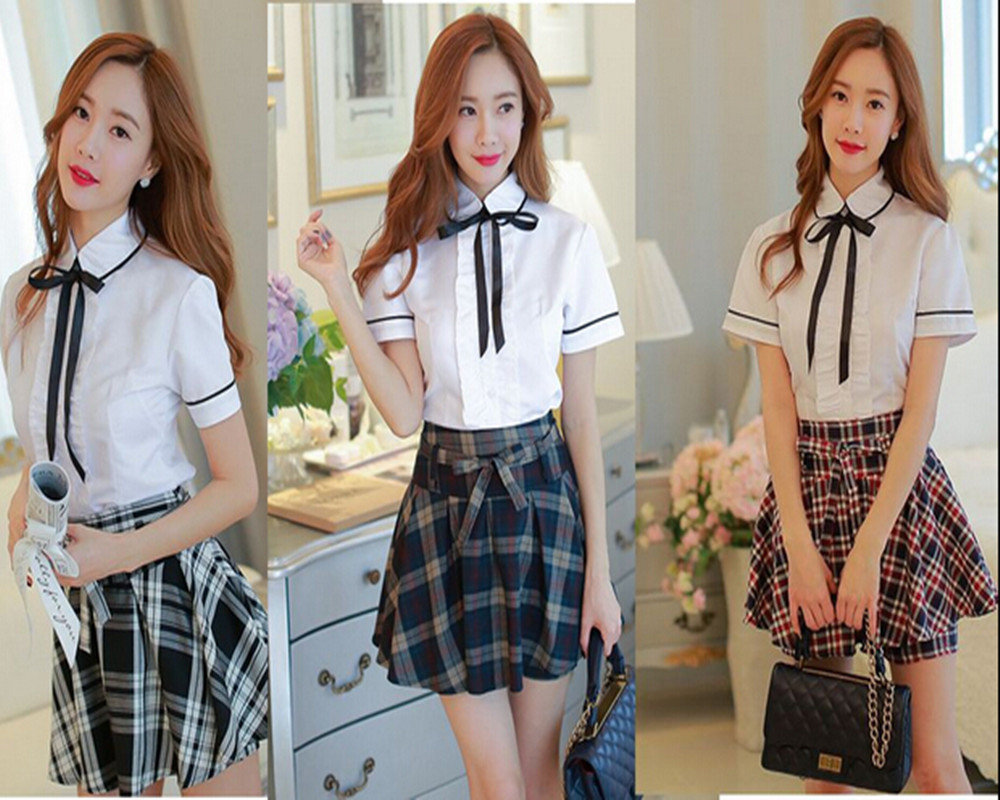 2015 Autumn Korean Version of the British School Uniforms Plaid Skirts Japanese Students Suits White Short Sleeves Girls XX001(China (Mainland))