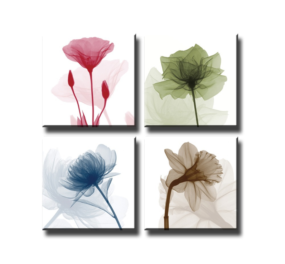 Canvas Print Painting Artwork X Ray Colorful Flowers X702