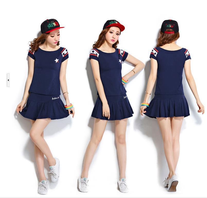 Women's Sets 2015 summer new fashion sportswear leisure suit Short Elastic Waist skirt female tennis suit 513-8(China (Mainland))