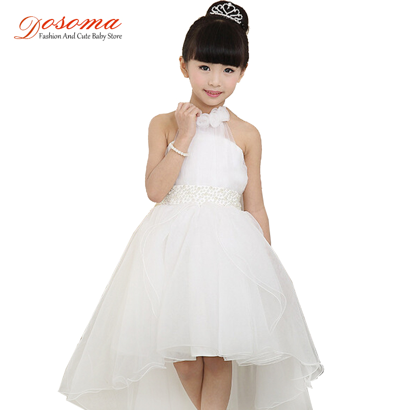 children's clothing girls dress 2015 Korean princess white lace long tail wedding kids dresses - Fashion and Cute Baby Store store
