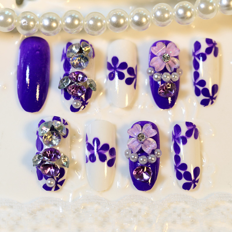 3D flowers Fake Nails Sexy purple Full Cover False Pre Design Faux Ongles Choose rhinestone - the best service,the last price,Direct Manufacturer store