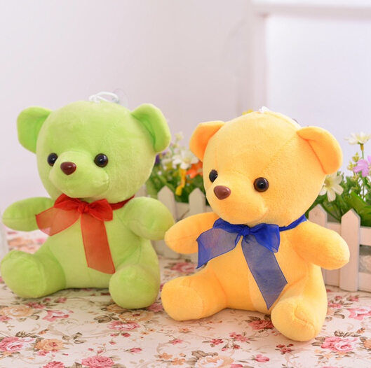 25cm Hot Cute Little Bear Plush Dolls Cartoon Stuffed Animals Toys with Tie Christmas Gifts Birthday Gift Toys For Kids YZT0104(China (Mainland))