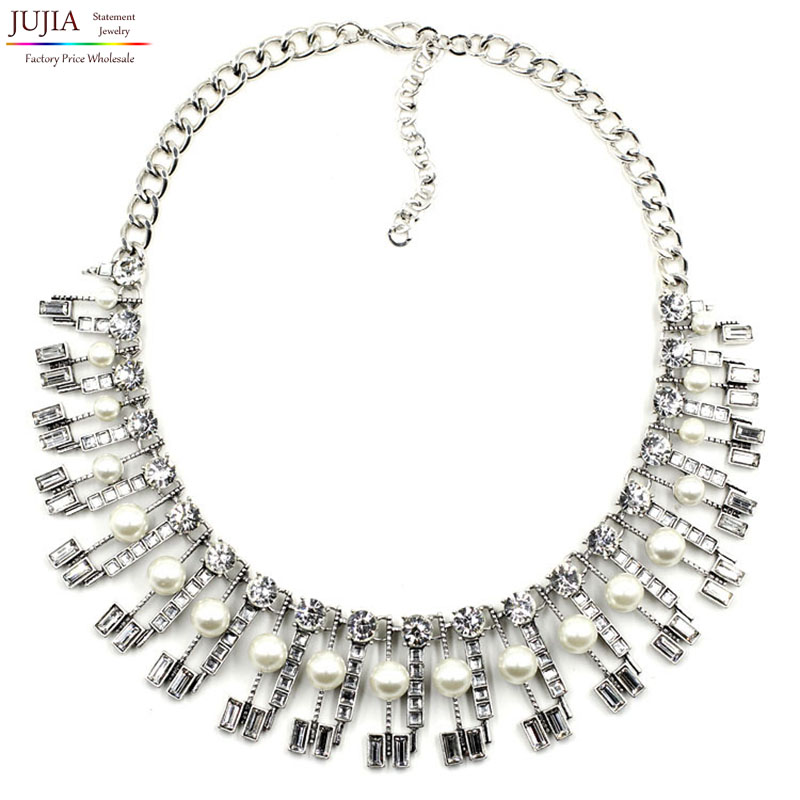 2015 New fashion collar necklace & pendant chunky luxury crystal choker simulated pearl Necklace statement jewelry - JUJIA Official Store store