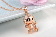 2014 Boys Girls Cute Designer Jewlery Birthday Gift Rose Gold Filled Chain Large Brown Crystal Kids