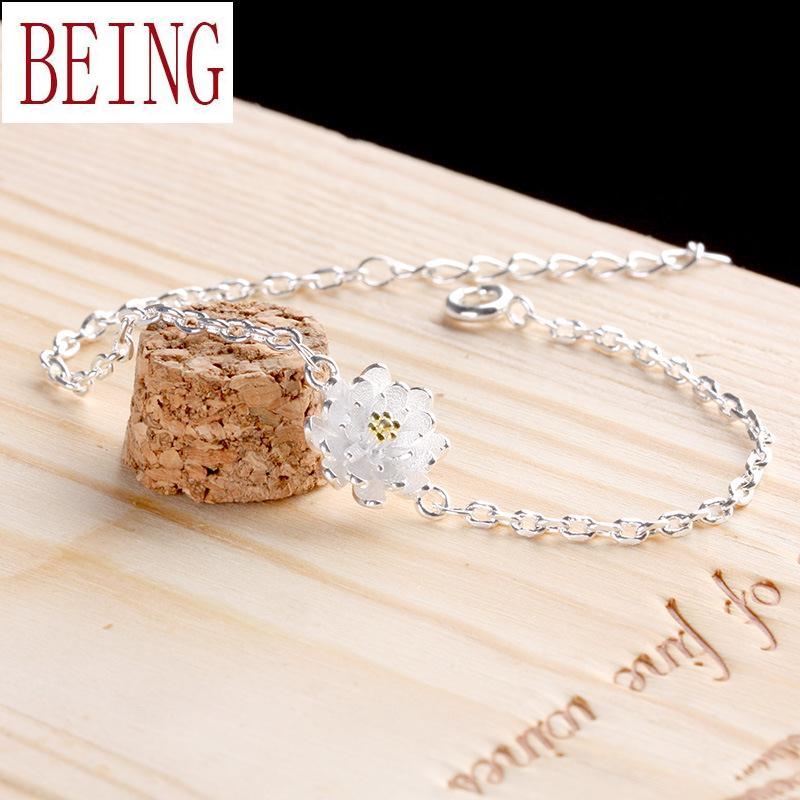 925 sterling silver bracelet female South Korean fresh lotus sweet temperament Flower Silver hand jewelry wholesale(China (Mainland))