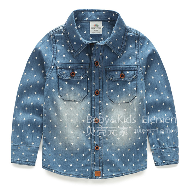 Chemise Garcon Children Clothing Autumn And Winter New Styles Kids Boys Fashion Print Cowboy Shirts Cotton Clip Thick Tx-4678(China (Mainland))