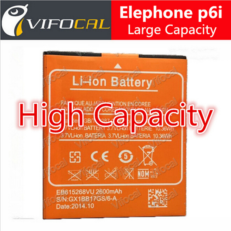 Elephone p6i battery New 100 Original Large 2600Mah For Smart Mobile Phone Free Shipping In Stock