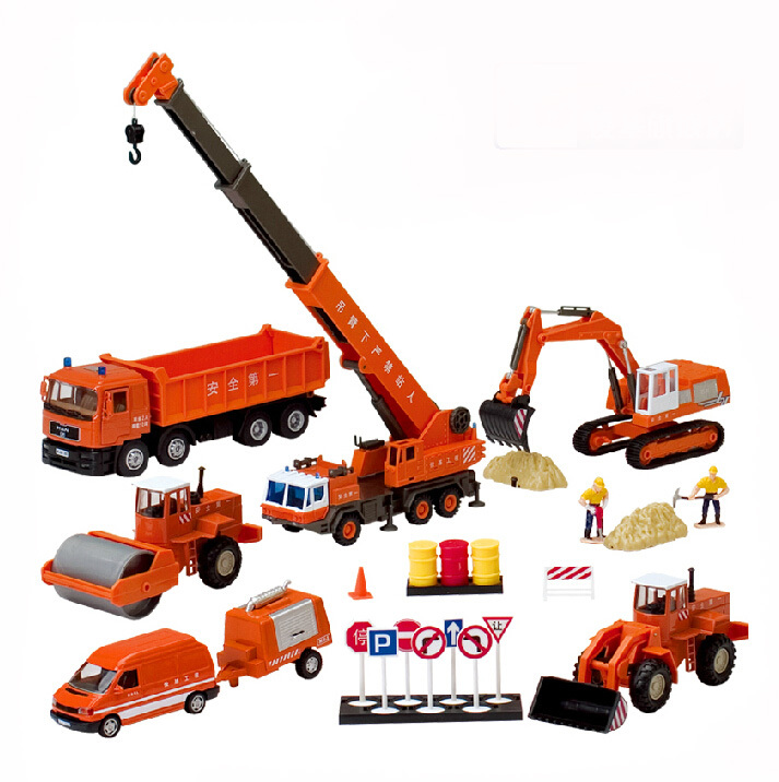 Alloy Diecast Educational set model 1:60 truck+ excavator+crane Engineering vehicle scale collection gift toys(China (Mainland))