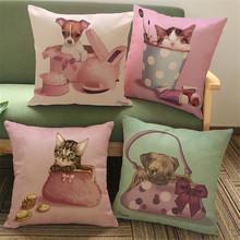 Teddy Dog Cotton Linen Cushion Cover Throw Pillow