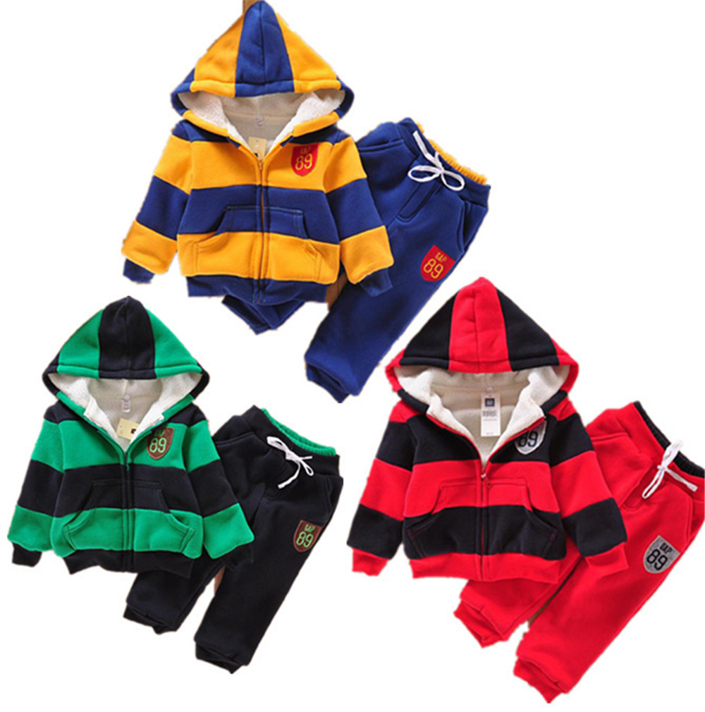 Children Winter Clothing sets 2015 New Cotton Regular Stripes Hooded Plus Thick Velvet Coats + Pants 2PCS Kids Sports Suits<br><br>Aliexpress