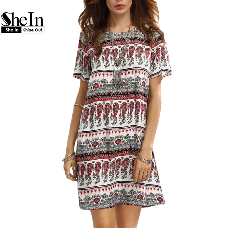 SheIn Casual Dresses For Woman 2016 Summer Ladies Vintage Multicolor Print Round Neck Short Sleeve Shift Dress(China (Mainland))