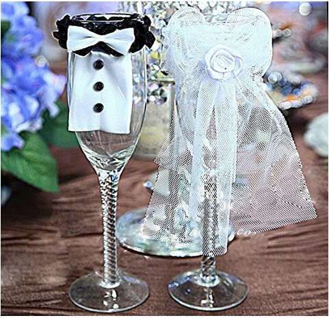 Wedding Decoration New Year Christmas Party Couple Bridegroom&Bride Type Wineglass Cover AE02120 - Wadoy store