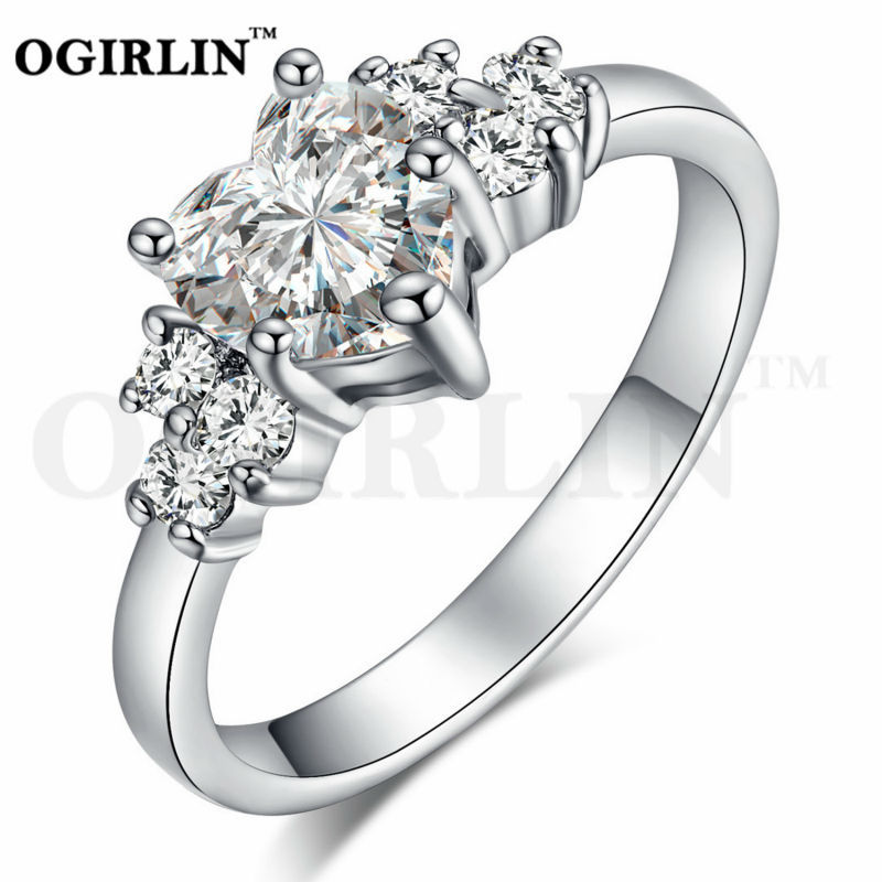 OGIRLIN Jewelry 18K Gold Plated Lady's Fashion Figure Ring Heart Crystal Cubic Zirconia Valentine White Wedding Top Quality(China (Mainland))