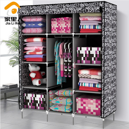 Family simple cloth wardrobe large capacity storage closet queen reinforcing steel storage cabinets Special 23 provinces shippin(China (Mainland))