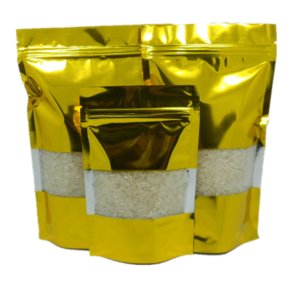 50Pcs/Lot Gold/Clear Stand Up Aluminum Foil with Window Packaging Bags Zip Lock Resealable Food Storage Doypack Gift Party Bag(China (Mainland))