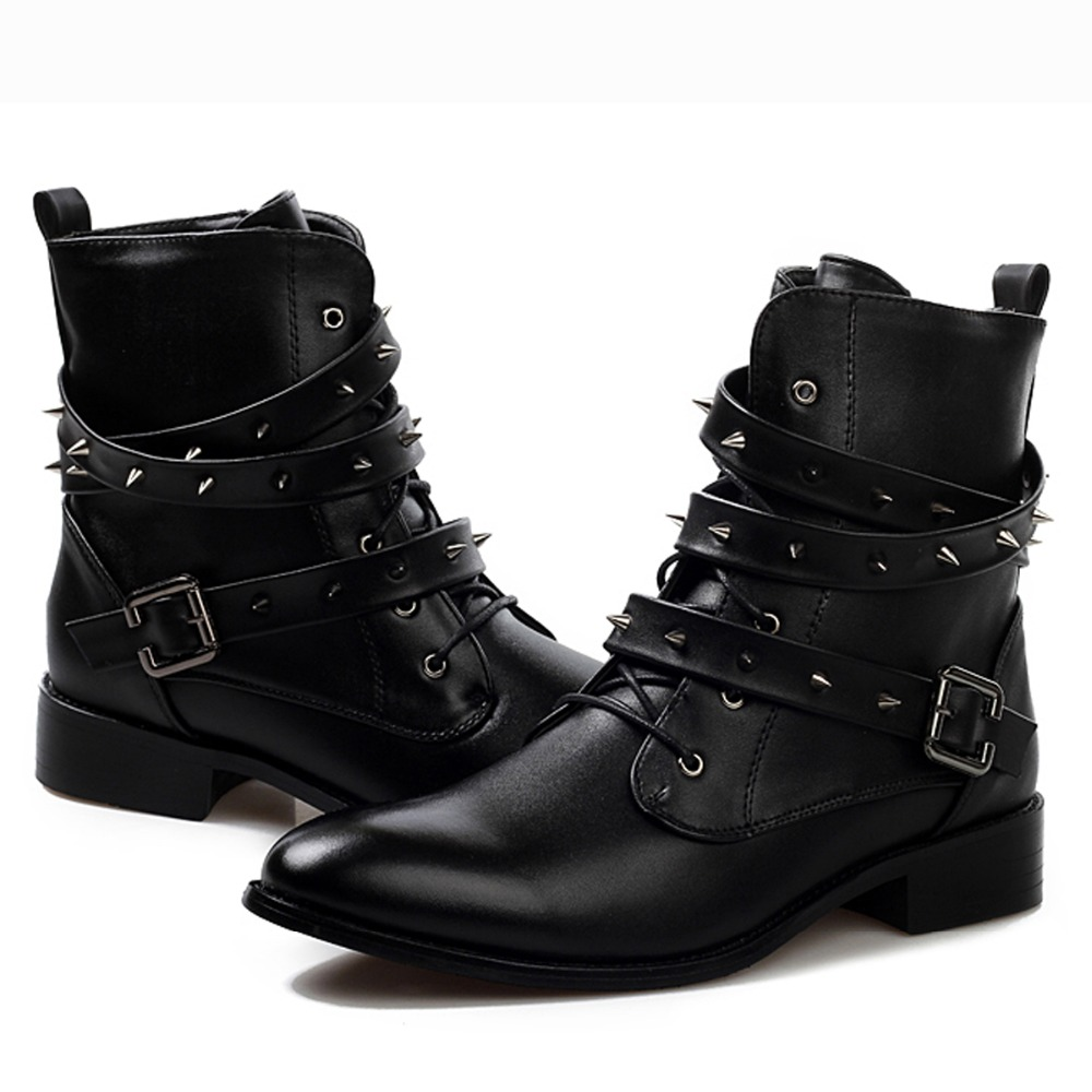Black Studded Ankle Boots River Island