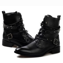 Cool Fashion Punk Rock Leather Motorcycle Ankle Oxfords Boots Mens Spiked Rivet Studded Shoes Buckle Straps Zip Autumn Winter(China (Mainland))