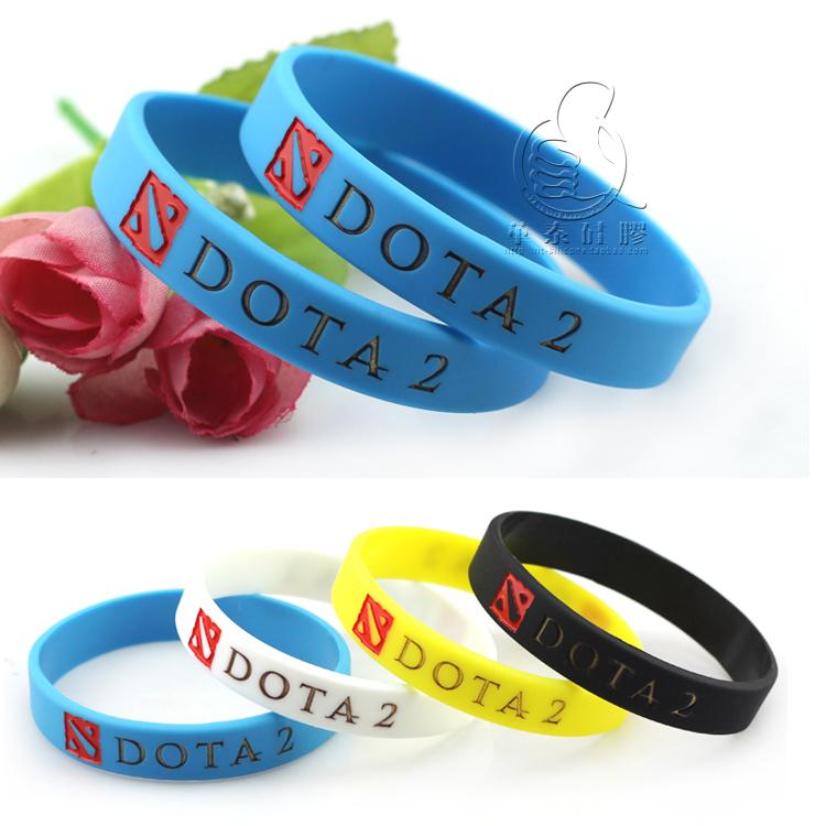 Free shipping 30 pcs/lot Dota 2 Wristband, Silicon Bracelet 4 colors DOTA 2 Printed Band bracelet(China (Mainland))