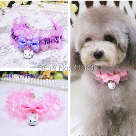 Pink/Purple/White Lace Bows Bell Fashion Pet Puppy Necklace For Dogs S/M/L 0521 Designs Chihuahua Yorkie Cat Jewelry Accessories(China (Mainland))