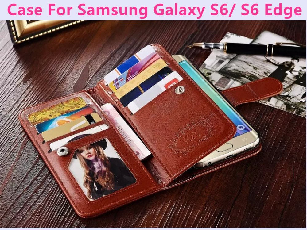Luxury Retro Genuine Leather Case For Samsung Galaxy S6/ S6 Edge Wallet Pocket Style Phone Bag Cover Flip With 9 Card Slot Purse(China (Mainland))