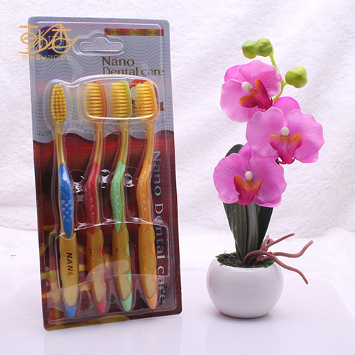 free shipping 10pcs/lot 4p nano toothbrush crude handle double layer wool toothbrush gold wool 4 plate(China (Mainland))