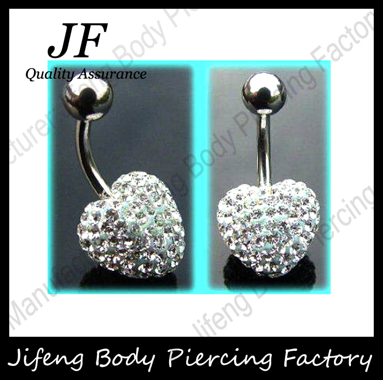 Free Shipping Hot Sale 1pc/lot Heart Shape Shamballa Head Crystal Stainless Steel Anti allergic Navel Belly Button Ring DQ050(China (Mainland))