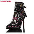 MORAZORA All cowhide leather boots women high thin heels ankle boots zip buckle embroidery autumn winter