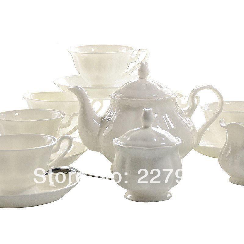 English White Ceramic Bone China 15 Piece Tea Set Tea Service Coffee Set