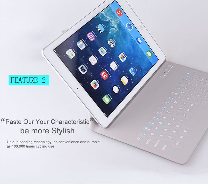 Computer Bluetooth Keyboard For iPad Air 1 2+9.7inch Ultrathin 0.45mm with Stand One Piece Leather Case Tablet Cover(China (Mainland))