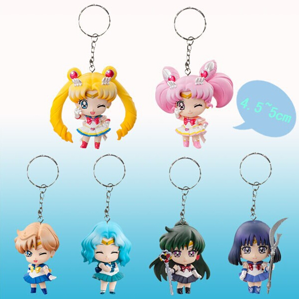 Гаджет  6pcs/set Sailor Moon Keychains Action Figures PVC Collection toys for christmas gift brinquedos ToyO00172 None Игрушки и Хобби