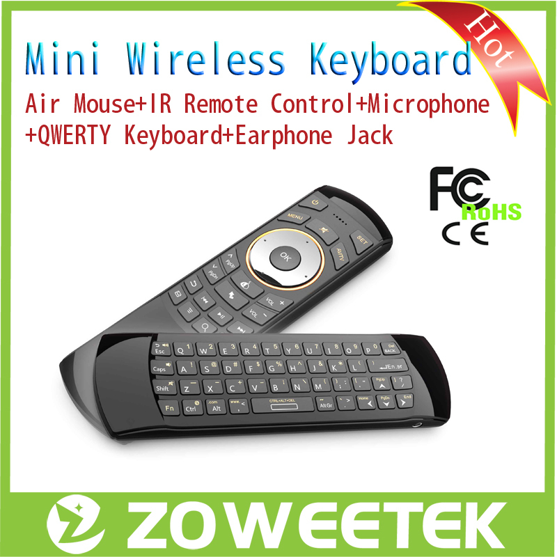 ZW-51025-1 Mini Black Computer QWERTY English Keyboard Gaming Wireless Fly Air Mouse Keyboard for PC Android TV Box IPTV(China (Mainland))
