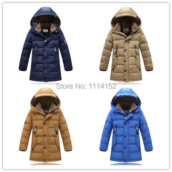New 2014 winter long Fur collar hooded children coats outerwear casaco infantil baby boy brand Warm thick down jacket clothing(China (Mainland))