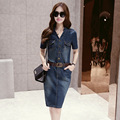 WomensDate Summer 2016 New short sleeved Denim Dress Slim Thin Package Hip Long Section Cowgirl Jeans