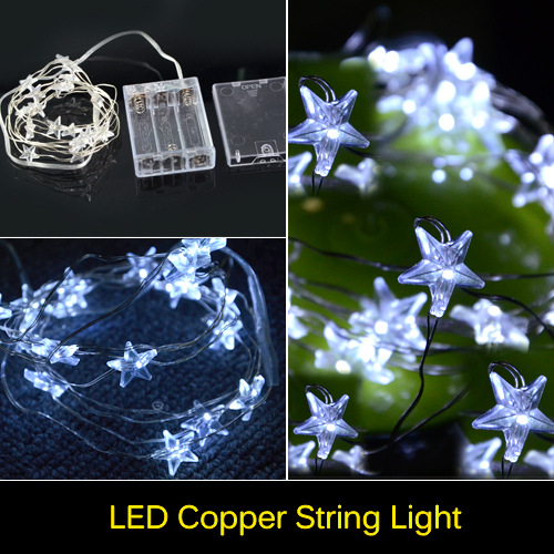 Christmas Decoration Light 2M 20 LED String Light Waterproof DC 5V Star Shaped Led Strip Wedding Garland Outdoor Rope LED Lamps(China (Mainland))
