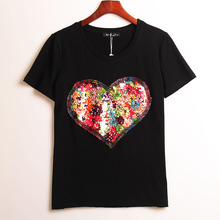 2 Colors Summer Hot T-shirt Women Sequined Love Heart Sequins T Shirt Women Tops Tee Shirt Femme Fashion Casual Woman Clothing(China (Mainland))