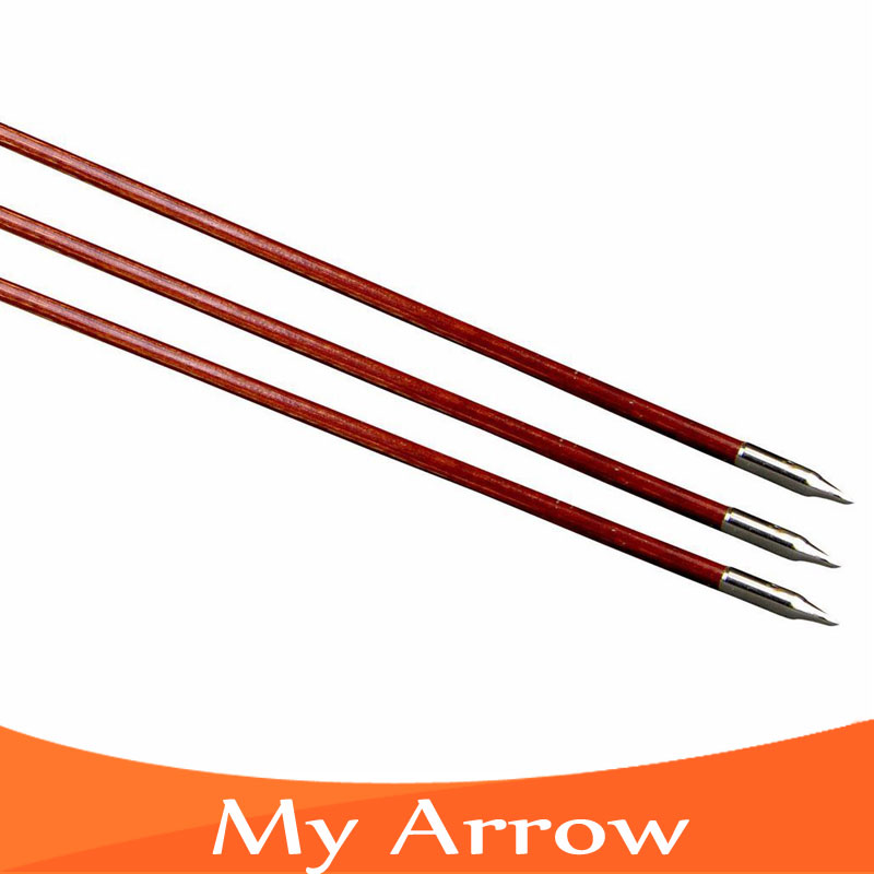 80cm Professional Practice Long Bow Wooden Arrows Wood Arrow Archery 3pcs Turkey Feather Handmade Wooden Arrow