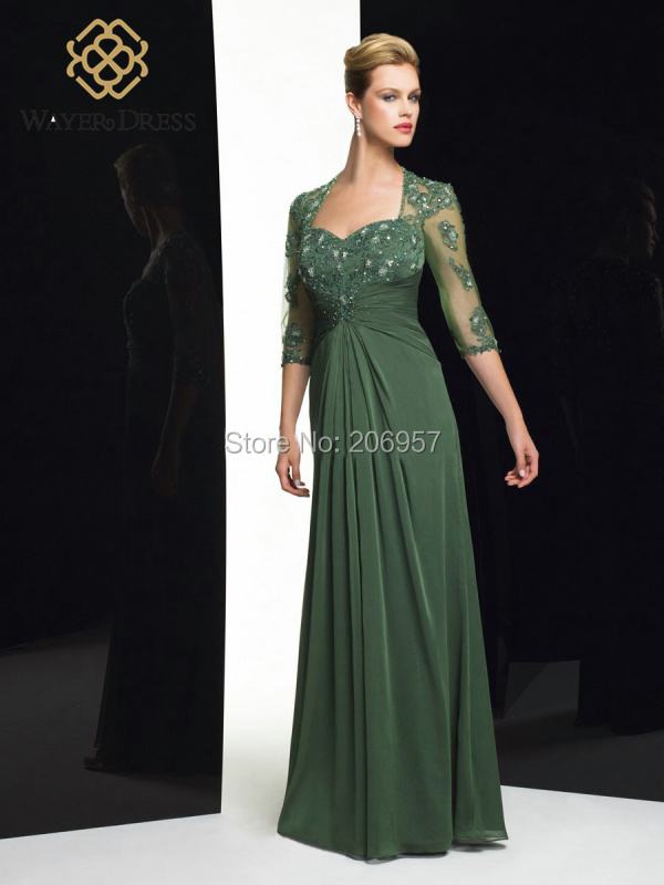 popular3 4 sleeves long evening dress green beaded lace. Black Bedroom Furniture Sets. Home Design Ideas