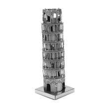 Creativo 3D Cube Laser modelos lindos metálico torre inclinada de Pisa Nano Puzzle para niños adultos rompecabezas para niños – plata