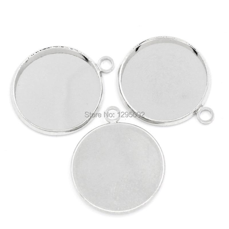 500Pcs Silver Tone Charm Pendants Cabochon Cameo Setting Round Breloque 23x20mm(7/8x6/8) Fit 18mm<br><br>Aliexpress