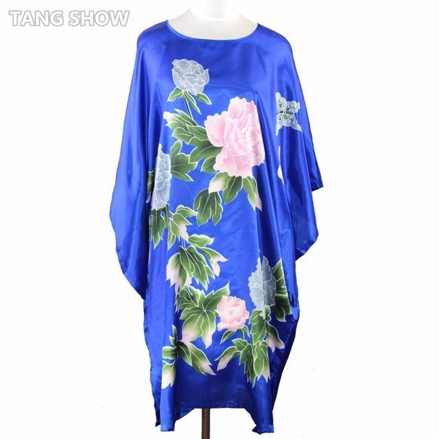 Королевский Синий Китайская Национальная Тенденция женская Банный Халат Платье Платье ...